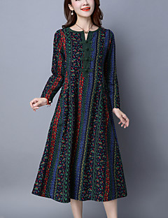 Women's Casual/Daily Vintage Loose DressPrint V Neck Midi Long Sleeve Blue / Red Cotton / Linen Spring / Fall