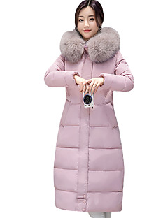 Fall Winter Casual Plus Size Women's Padded Coat Solid Color Slim Joker Hooded Down Jacket Long Section