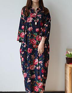Tunika Ruha Női Kínai Casual/hétköznapi,Virágos V-alakú Midi Hosszú ujj Kék Pamut / Len Tavaszi / Őszi Közepes derekú Nem elasztikus
