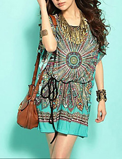 Women's Holiday Boho Loose / Tunic Dress,Print Round Neck Mini Short Sleeve Green Silk / Cotton / Polyester Summer Mid Rise Stretchy