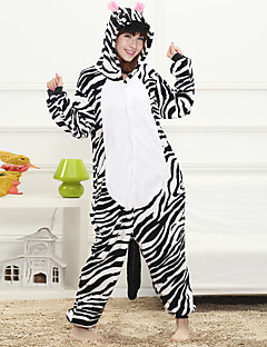 Unisex Cashmere / Polyester Zebra Cartoon One-piece Pajama Winter Thick Sleepwear