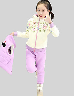 Girl's Casual/Daily Floral Clothing SetRayon Winter / Spring / Fall Black / Purple
