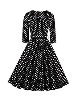 Damen Hülle / Swing Kleid-Ausgehen / Übergröße Retro Punkt Quadratischer Ausschnitt Knielang ¾-Arm Schwarz Baumwolle Alle SaisonsMittlere