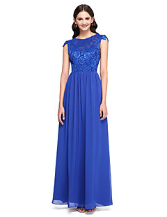 Lanting Bride®Floor-length Chiffon / Lace Bridesmaid Dress - Elegant A-line Jewel with Buttons / Lace