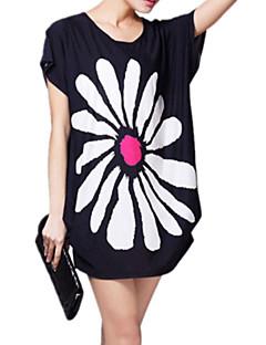 Vrouwen Street chic Zomer T-shirt,Uitgaan Print Ronde hals Korte mouw Zwart Rayon Dun