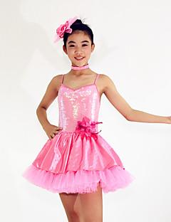 Danse classique Robes Femme Enfant Spectacle Elasthanne Polyester Paillété Ruchés plongeants 3 Pièces Sans manche Taille moyenneRobe Tour
