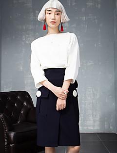 ROOM404  Women's Solid Blue SkirtsSimple Knee-length
