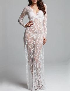 Damen Hülle Kleid-Klub Einfach / Boho Solide V-Ausschnitt Maxi Langarm Weiß Polyester Sommer / Herbst Mittlere Hüfthöhe Mikro-elastisch