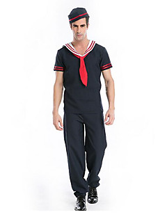 MEN'S Sailor Navy Jumpsuit Captain Catsuit Fancy Costome