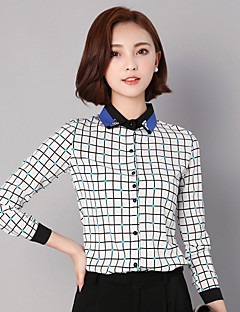 Women's Going out / Casual/Daily / Work Street chic Spring / Fall ShirtPolka Dot / Check Shirt Collar Long Sleeve