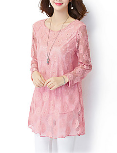 Women's Plus Size / Casual/Daily Vintage / Simple Fall / Winter ShirtSolid Round Neck Long Sleeve Pink / Polyester