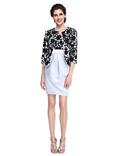 2017 Lanting mãe bainha / coluna bride® do vestido de noiva - Mini cetim elegante curto / meia manga com rendas