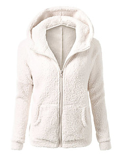 Women's Casual/Daily / Sports Lamb Wool Fashion Thick Simple / Street chic Regular HoodiesSolid Hooded Long