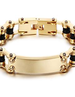 Férfi Lánc & láncszem karkötők Személyre szabott Klasszikus Rozsdamentes acél Arannyal bevont 18K arany Geometric Shape Ékszerek
