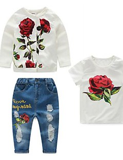 Girl's Casual/Daily Floral Jeans / Clothing SetCotton Spring / Fall White