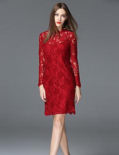 frmz casual / täglich anspruchsvolle Mantel dresssolid Rundhalsausschnitt über Knie lange Ärmel rot / beige Polyester