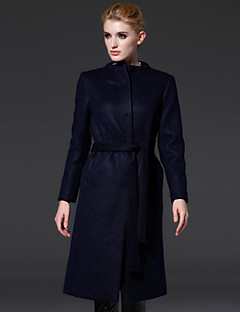 frmz Frauen einfache coatsolid stehen lange Hülse Herbst / Winter blau / orange Wolle / Polyester Gehen Medium