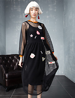 room404 női kiment utca elegáns laza dressembroidered kerek nyakú térdig érő