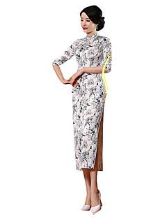 Klasszikus és hagyományos Lolita Szoknya 3/4-es ujj Hosszú hossz Fehér Lolita ruha Selyem