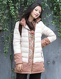 Damen Gefüttert Mantel,Lang Boho Ausgehen Stickerei-Polyester Baumwolle Langarm Beige Ständer