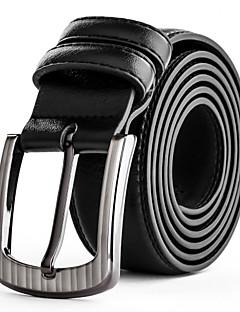 Mens Silver Belt Buckle Black Leather Waist Belt Straps For Casual Pants Jeans Belts