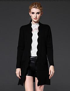 Langærmet Høj krave Medium Dame Sort Ensfarvet Forår Simpel Casual/hverdag Cloak / Capes,Akryl / Nylon