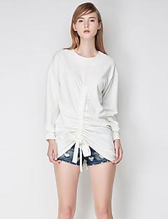 Damen Standard Strickjacke-Lässig/Alltäglich Einfach Solide Weiß / Schwarz Rundhalsausschnitt Langarm Polyester Herbst Mittel