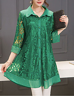 Women's Lace Casual/Daily Street chic Summer Blouse,Solid Shirt Collar ¾ Sleeve Blue / Red / Green Polyester Thin
