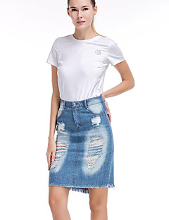 Women's Solid Blue SkirtsSimple Above Knee