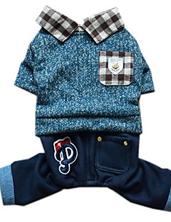 Dog Clothes/Jumpsuit Dog Clothes Winter Spring/Fall Color Block Cute Fashion Blue Pink