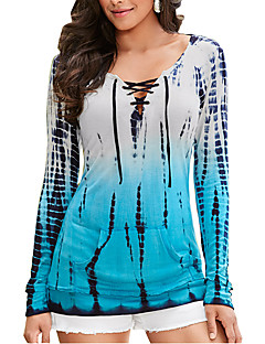Women's Going out / Casual/Daily Simple Summer / Fall T-shirtPrint Round Neck Long Sleeve Blue