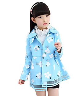 Girl's Casual/Daily Floral Trench CoatCashmere All Seasons Blue / Green / Pink / White