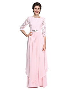2017 Lanting Bride® Sheath / Column Mother of the Bride Dress - Elegant Floor-length 3/4 Length Sleeve Chiffon / Lace