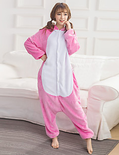 Unisex Cashmere / Polyester Cute Rabbit Cartoon One-piece Pajama Winter Thick Warm Sleepwear Pink