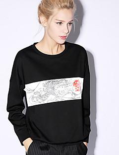 Damen Pullover Lässig/Alltäglich Einfach Druck Rundhalsausschnitt Mikro-elastisch Kunstseide Nylon Elasthan Langarm Frühling Herbst