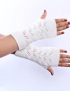 kvinders vinter uld strikning twist udhule ensfarvede handsker
