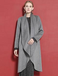 c + beeindrucken Frauen anspruchsvolle coatsolid asymmetrische lange Ärmel Winter grau Wolle / Rayon Medium Ausgehen