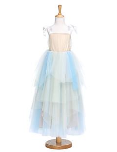 A-Şekilli Diz Altı Çiçekçi Kız Elbisesi - Tül Kolsuz Askılı ile Fiyonk / Drape