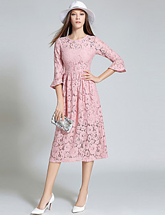 Women's Going out Vintage / Sophisticated Lace DressEmbroidered Round Neck Midi  Length Sleeve Blue / Pink