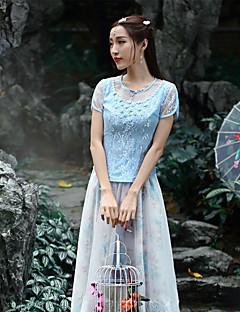 Vrouwen Chinoiserie Zomer T-shirt,Uitgaan Jacquard Ronde hals Korte mouw Blauw Polyester Medium