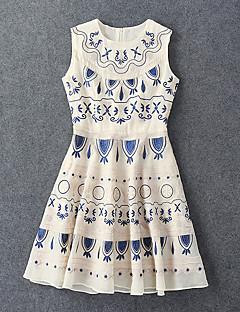 Damen Hülle Kleid-Ausgehen Boho Geometrisch Rundhalsausschnitt Knielang Ärmellos Beige Baumwolle / Elasthan Sommer Hohe Hüfthöhe