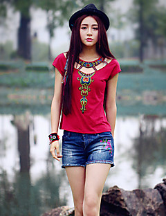 Feminino Camiseta Para Noite Vintage Verão,Bordado Algodão Elastano Decote Redondo Manga Curta Média