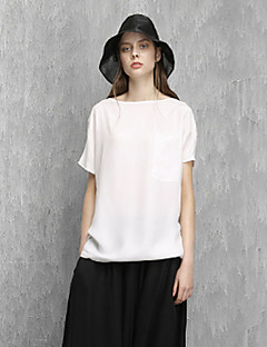 Rizhuo Women's Casual/Daily Simple Summer T-shirtSolid Round Neck Short Sleeve White Rayon Thin