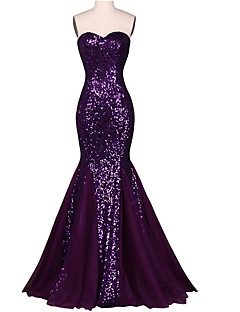 Mermaid / Trumpet Sweetheart Floor Length Chiffon Sequined Formal Evening Dress with Sequins