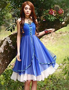 Damen Hülle Kleid-Ausgehen Anspruchsvoll Stickerei Gurt Knielang Ärmellos Blau Polyester Sommer Hohe Hüfthöhe Unelastisch Mittel