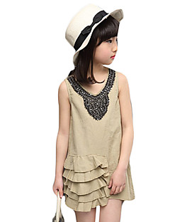 Girl's Casual/Daily Solid DressOthers Summer Brown