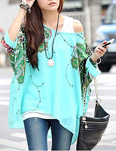 Women's Slack Neck Batwing Sleeve Printed Loose-Fitting Blouse