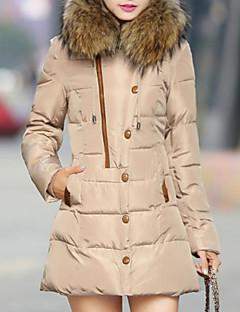 Manteau Doudoune Femme,Longue simple Décontracté / Quotidien Mosaïque-Acrylique Polyester Spandex Polypropylène Manches Longues Capuche