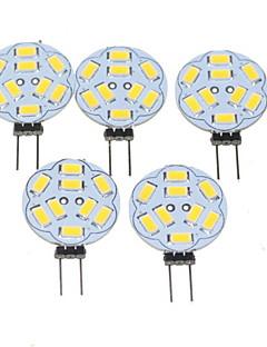 5W G4 LED-spotlys MR11 9 SMD 5730 360-450 lm Varm hvid Justérbar lysstyrke DC 12 / AC 12 V 5 stk.