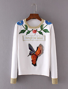Women's Casual/Daily Simple Regular PulloverEmbroidered White Round Neck Long Sleeve Cotton Fall Medium Micro-elastic
